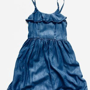 Ruffle Trim Spaghetti Strap Light Denim Dress